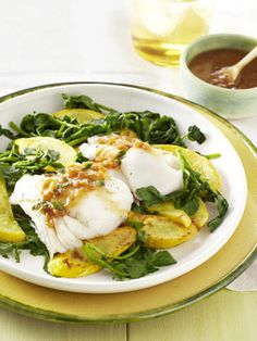 The tangy sauce for this low-fat roasted cod dish features fresh ginger, soy, vinegar, shallot, and hot sauce. #seafood #seafoodrecipe