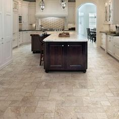 Luxury kitchen in suburban home with white cabinetry Stock Photo - 6740293 Two Tone Kitchen, Kitchen Redo, Kitchen Ideas, Kitchen Cabinets, Luxury Kitchen Design, Kitchen Flooring, Tile Flooring, Flooring Ideas, Travertine Floors