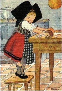 /Petite alsacienne préparant des bredele_Hansi
