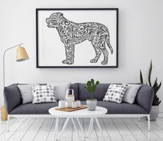Mastiff in zetangle style, SVG, DXF, PNG, AI ,CDR, PDF, print and cut files for tattoo design, t-shirt design, sticker, wall decor, scroll saw, car decal, embroidery pattern. Digital template/stencil files for use with Silhouette, Cricut and other Vinyl Cutters and printing machine.