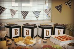 baby shower black white and gold