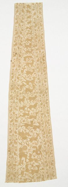 Panel from a Mantle or Apron - Early 17th century - India, Bengal, Satgaon-Hugly - Cotton, tasar silk; plain weave, embroidered