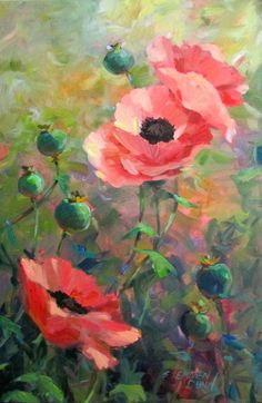 """This painting entitled """"Joyful Poppies"""" will be on exhibit at the Art Space Gallery in Rockland, Maine during the month of September. It is a 24 x 36 oil painting."""