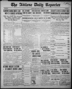 Daily newspaper from Abilene, Texas that includes local, state, and national… Abilene Texas, Old West, Newspaper, Bullet Journal, Vintage, Journaling File System, Vintage Comics