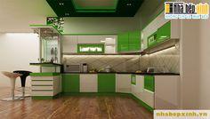 Tủ bếp kiểu dáng chữ U đầy sang trọng và thanh lịch, sử dụng tông màu tươi sáng với màu trắng phụ đề cho gam màu xanh lá nổi bật đầy cá tính, làm không gian bừng sáng và đầy mới mẻ.