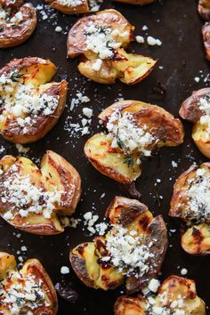 Garlic Herb Smashed Potatoes - these potatoes are crispy on the outside while soft on the inside and then filled with fresh garlic herb flavor! A must this holiday season!   joyfulhealthyeats.com: