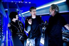 Olivia Wilde, Joseph Kosinski and Jeff Bridges on-set of TRON: Legacy (2010)
