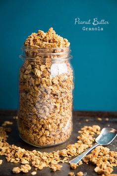 Peanut Butter Granola with just 4 ingredients! Doesn't get any easier than this. Perfect for yogurt parfaits and granola bars.