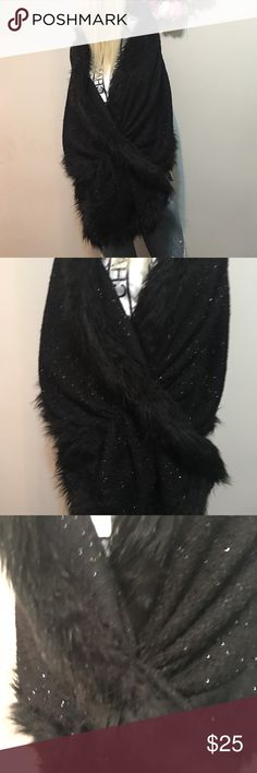 Winter party wedding shawl cardigan black faux fur Beautiful CHICO'S black party shawl OS. Great for NYE or Christmas party. Chico's Jackets & Coats Capes