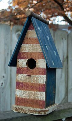 a bucket into a birdhouse patriotic bird house. Birdhouse Designs, Birdhouse Ideas, Bird Boxes, Old Glory, Red White Blue, Yard Art, Bird Feathers, Beautiful Birds, Decoration