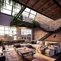 Industrial Interior Design, Industrial Interiors, Industrial House, Interior Design Living Room, Living Room Designs, Industrial Kitchens, Industrial Style, Urban Industrial, Vintage Industrial