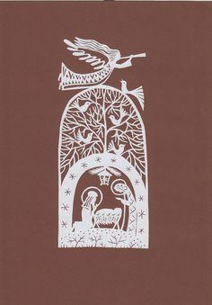 """Papercut, Scherenschnitt """"Scène de la Nativité"""" par l'artiste folklorique lituanienne Odeta Brazeniene"""