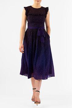 Ruffle star print georgette midi dress