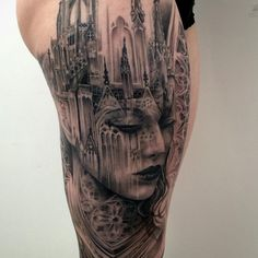 I did the mid part of this piece about 2 years ago. We recently added on to it and completed the full leg sleeve! I'll post photos of the leg sleeve soon! #tattoo #cathedral #morph #blackandgrey #swashdrive #inkeeze
