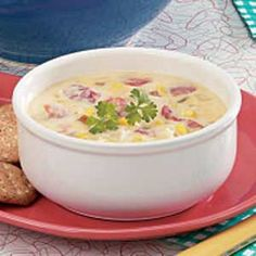 Chicken Cheese Soup - this is so good!! I didn't have condensed milk, so I used 1 cup 1% instead. I also didn't have (or want) velveeta. I used a cup of shredded mexican cheese blend and 1 cup shredded cheddar. I also used mixed veggies instead of just corn. Even my husband really likes it, and he's picky! :-)