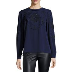Parker Harper Embroidered Silk Blouse (1.020 BRL) ❤ liked on Polyvore featuring tops, blouses, aquarius, parker blouse, blue top, long sleeve pullover, long sleeve tops and blue long sleeve blouse