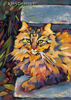 Karen Mathison Schmidt Cat Paintings Biscuit About the original:  7 x 5 • acrylic on Gessobord™ • Shreveport, Louisiana