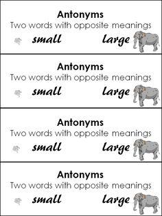 Antonyms header for word study notebook