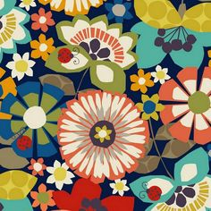 Free Mind Large Flower on Navy by Hoodie for Newcastle Fabrics 881-3