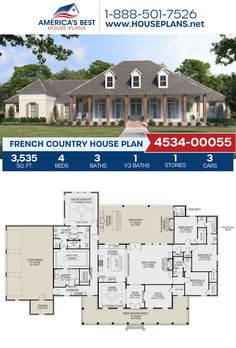 Get to know this darling French Country home design! Plan 4534-00055 details 3,535 sq. ft., 4 bedrooms, 3.5 bathrooms, split bedrooms, a kitchen island, an open floor plan, a wrap-around porch, a mudroom, and an office. #frenchcountry #architecture #houseplans #housedesign #homedesign #homedesigns #architecturalplans #newconstruction #floorplans #dreamhome #dreamhouseplans #abhouseplans #besthouseplans #newhome #newhouse #homesweethome #buildingahome #buildahome #residentialplans Best House Plans, Dream House Plans, House Floor Plans, French Country House Plans, Country House Design, Floor Plan Drawing, Porch Plans, Build Your Dream Home, Open Floor