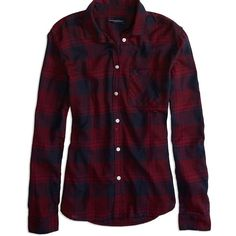 AE Factory Plaid Button Shirt ($17) ❤ liked on Polyvore featuring tops, red, shirt tops, red top, purple shirt, purple top and american eagle outfitters