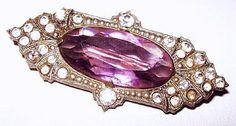 "Art Deco Czech Brooch Pin Signed Purple Lavender ;& Clear Rhinestones Silver Metal 2"" Vintage"