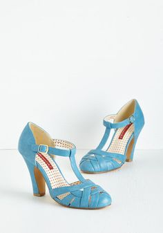 Spring 'Em Out Heel in Sky by Bait Footwear - Blue, Solid, Braided, Wedding, Party, Work, Vintage Inspired, 20s, Better, T-Strap, Variation, Mid