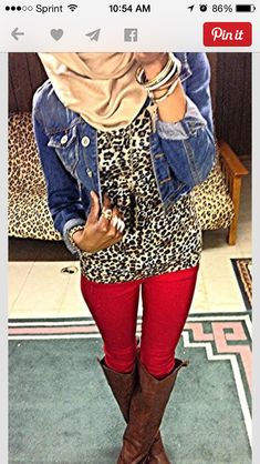 Leopard Red Denim