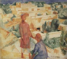 1921 BOYS ON THE BACKGROUND OF THE CITY, Kuzma Petrov-Vodkin (1878~1939)