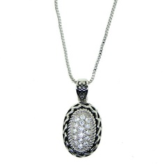 Designer Inspired Oval Necklace with Diamond CZ Pave Center