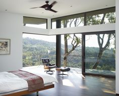"San Francisco bedroom features both a balcony and a sliding glass door. A chair in the ""disappearing"" corner window serves as the perfect lookout spot [from Griffin Enright Architects] Modern Master Bedroom, Modern Bedroom Design, Master Bedroom Design, Light Bedroom, Bedroom Designs, Master Bedrooms, Bedroom Suites, Cottage Bedrooms, Master Suite"