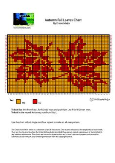 Autumn Fall Leaves Chart knitting