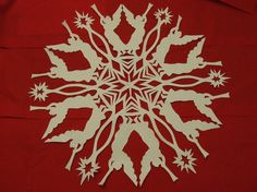 I have been making paper snowflakes for the past 40 years. I have put together a tutorial for folding and cutting and patterns for 9 of my favorites. This PDF file gives instructions and full sized patterns to make 9 snowflakes. You can use your imagination and make your own design with the same methods. The patterns call for 18 inch square paper and finish at about 16 or 17 inches round