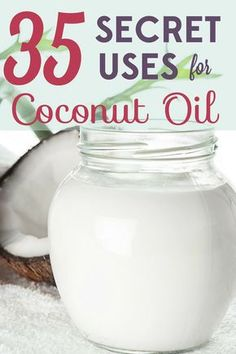 Coconut oil is delicious, but it can also be used in health and beauty products, cleaning supplies, and more! Check out these 35 secret uses for coconut oil. products best products drugstore products must have products natural products that really work Coconut Oil Lotion, Coconut Oil Beauty, Coconut Oil For Teeth, Natural Coconut Oil, Benefits Of Coconut Oil, Uses For Coconut Oil, Coconut Oil For Body, Diy Beauty Products With Coconut Oil, Coconut Oil Face Cleanser