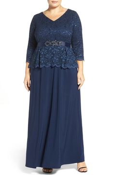 Alex Evenings Mock Two-Piece Lace & Jersey Gown (Plus Size) available at…