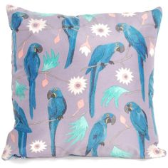 Katie & the Wolf - Macaws Cushion ($73) ❤ liked on Polyvore featuring home, home decor, throw pillows, blue throw pillows, blue toss pillows, blue accent pillows, handmade home decor and blue home decor