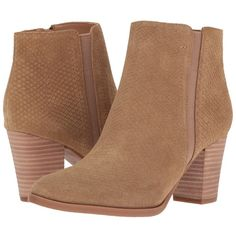 Franco Sarto Dipali (Camel Suede Snake) Women's Zip Boots (2.055 UYU) ❤ liked on Polyvore featuring shoes, boots, ankle booties, heels, booties, ankle boots, suede boots, stacked heel booties, pointed-toe ankle boots and suede bootie