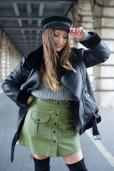 #bombardier #coat #fauxfur #leatherskirt #parisianstreetstyle