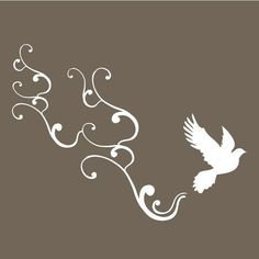 small bird flying with swirls vinyl wall art decal by vinylfruit, $10.00