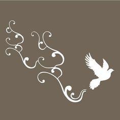 small bird flying with swirls vinyl wall art decal by vinylfruit, $10.00