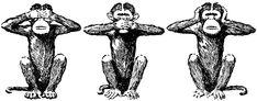 Do you know the names of the three wise monkeys? They are: Mizaru (See no evil), Mikazaru (Kikazaru – Hear no evil), and Mazaru (Iwazaru – Speak no evil). The fourth wise monkey is called Shizaru (Do no evil). Monkey Drawing, Three Wise Monkeys, Monkey Tattoos, See No Evil, Illustrations, Rock Climbing, Boulder Climbing, Tatting, Sketches