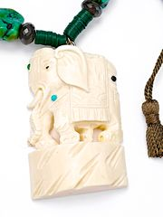 Vintage Carved Ivory Elephant Turquoise Necklace from 88 by Sandy Simonian  on Taigan
