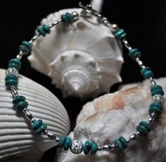 Turquoise and Silver Anklet by TheSandyShell on Etsy, $12.00