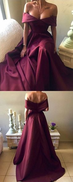 Dark Red Satin Long A-line Off Shoulder Evening