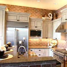 modern kitchens, interior design with exposed brick wall