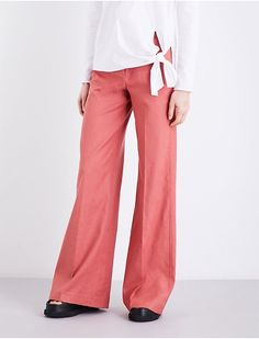 THEORY - Terena wide high-rise linen-blend trousers | Selfridges.com