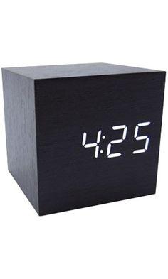 Generic Cube Wood LED Alarm Clock - Time Temperature Date - Sound Control - Latest Generation Best Price