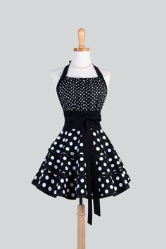 Flirty Chic Womens Retro Apron in Sexy Black and White Polka Dot Vintage Style Pin up Kitchen Apron - Creative Chics