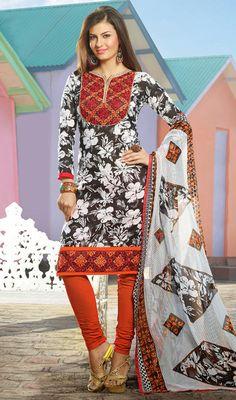 Black and Off White Cotton Printed Churidar Suit Price: Usa Dollar $71, British UK Pound £42, Euro52, Canada CA$77 , Indian Rs3834.