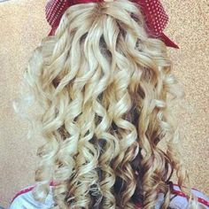 I personally hate the cheer curls that are so tight you can almost see the hairspray, but in the cheer world, this is gorgeous, sooo, I figured I should post it Cheer Hair, Cheer Bows, Hairspray, Cut And Style, Trendy Hairstyles, Hair Goals, Girly Things, Hair And Nails, Curly Hair Styles